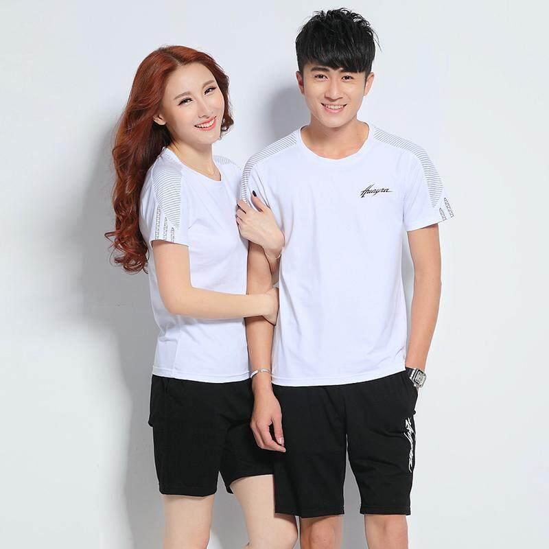 Musim panas pasangan Olah Raga Set katun murni casual Baju olahraga Pria dan Wanita kerah bulat