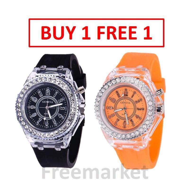 [ BUY 1 FREE 1] Geneva Ladies Rhinestone LED Big Dial Quartz Watch Luminous Fashion Wrist Watch Jam Tangan Wanita Malaysia