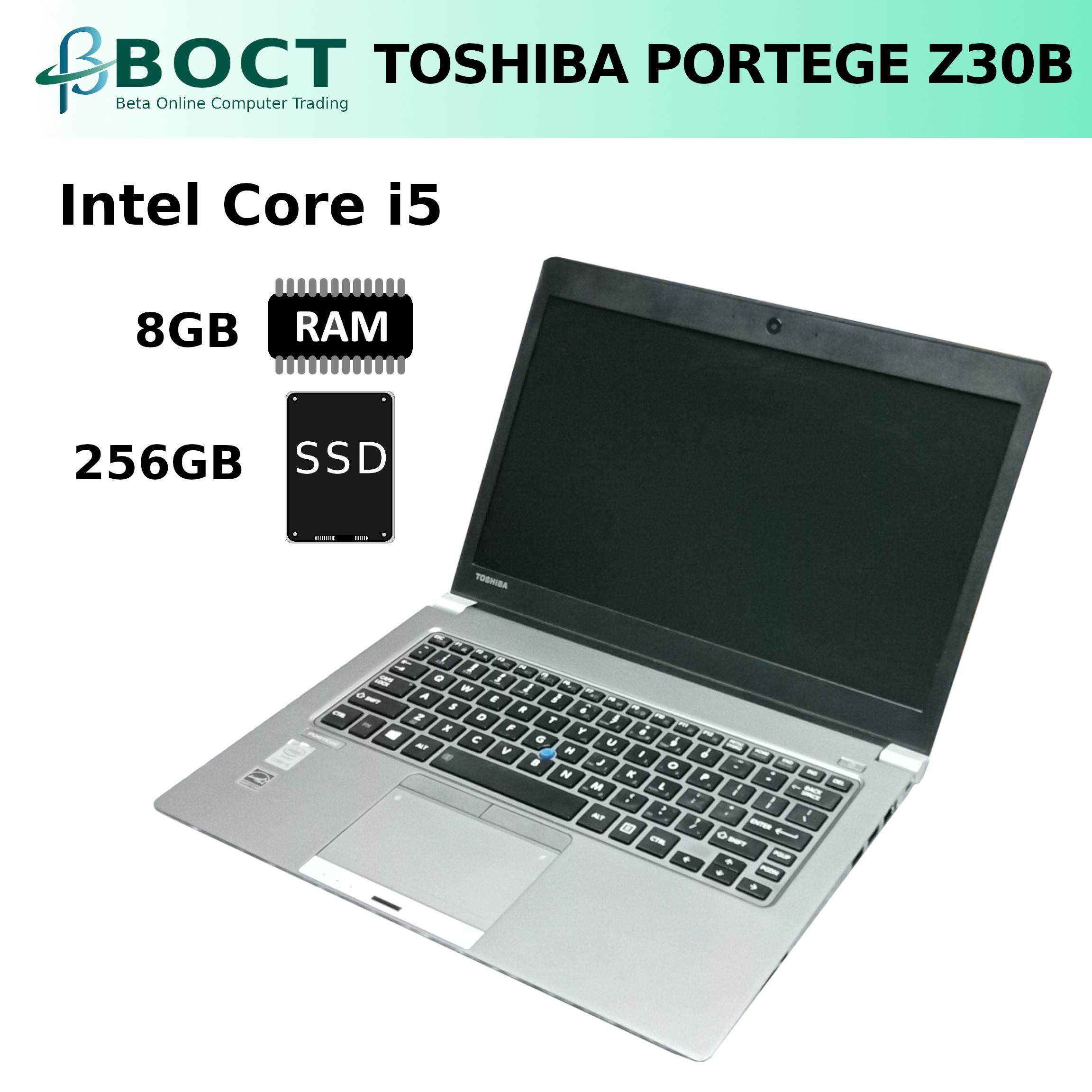 Toshiba Portege Z30B laptop / Core i5-5200U / 8GB / 256GB SSD / Dual Band Wireless a/b/g/n/ac (Refurbished) /W10P Malaysia