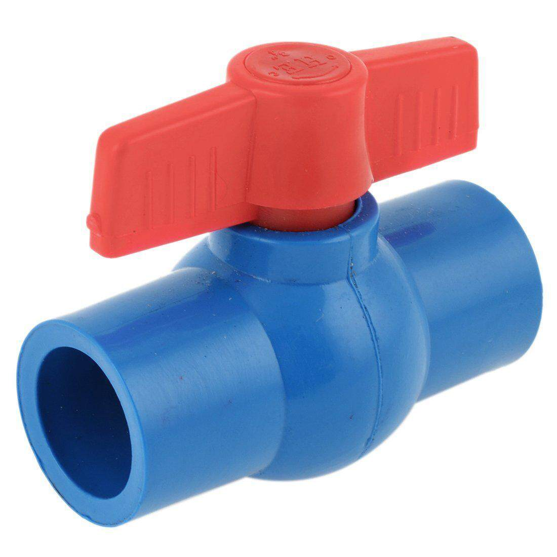 25mm Inner Dia Red Control Lever PVC Ball Valve Quick Adapter Blue