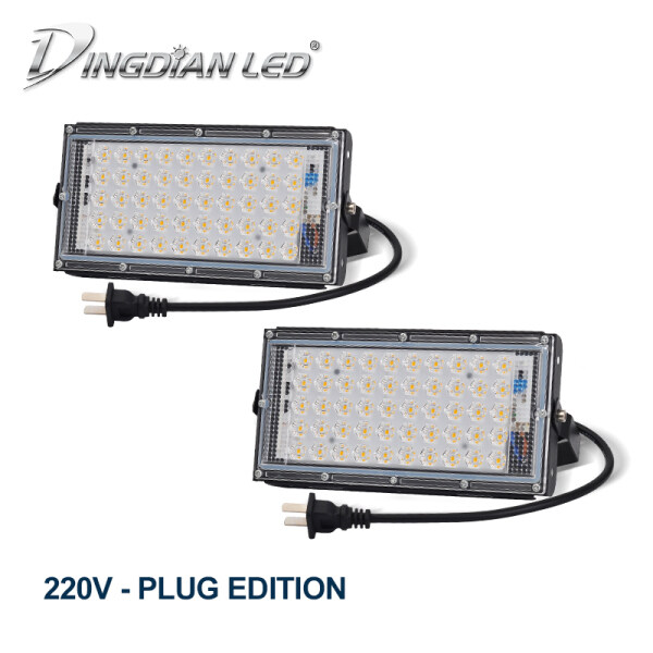 DINGDIAN Led 2 Gói LED 220V Lũ Ánh Sáng Với Phích Cắm Ngoài Trời IP65 Chống Thấm Nước 50W Hoàn Hảo Điện Trắng Lạnh, trắng Ấm Pha Đèn Trợ Sáng Siêu Sáng Seachlight