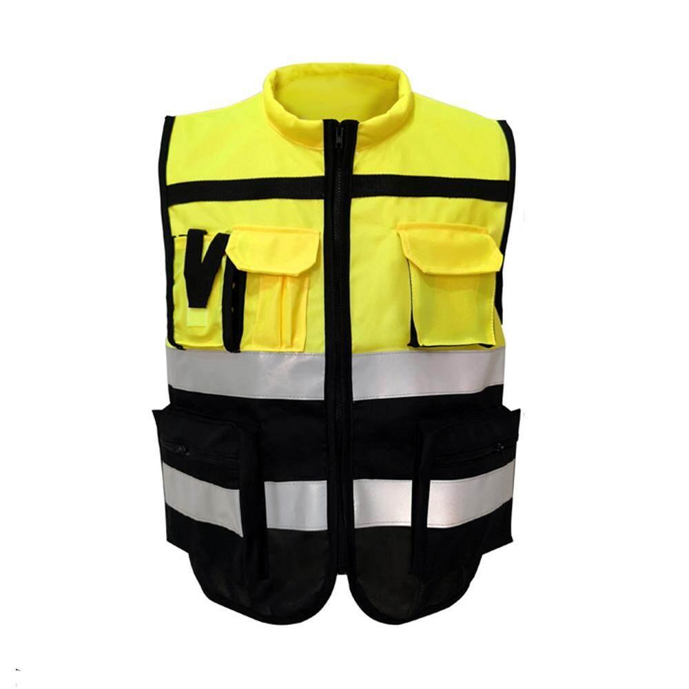 blackhorse High Visibility Safety Vest Workwear Reflective Jacket Night Security Waistcoat Warning Vest - Size: Int:L