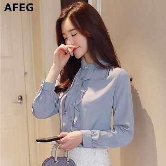 Afeg ผู้หญิงเกาหลีใหม่คอปกแขนยาวเร้าใจชีฟองแฟชั่นสบายๆอารมณ์ป่าเสื้อสง่างาม