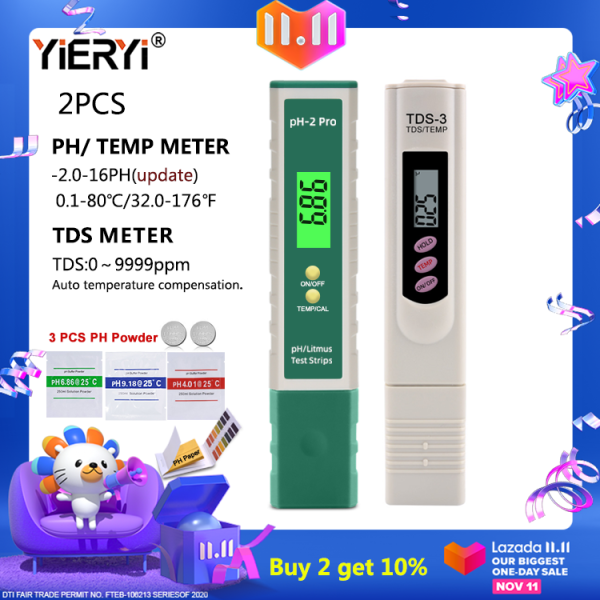 yieryi update PH meter TDS&Temperature meter water quality tester with backlight