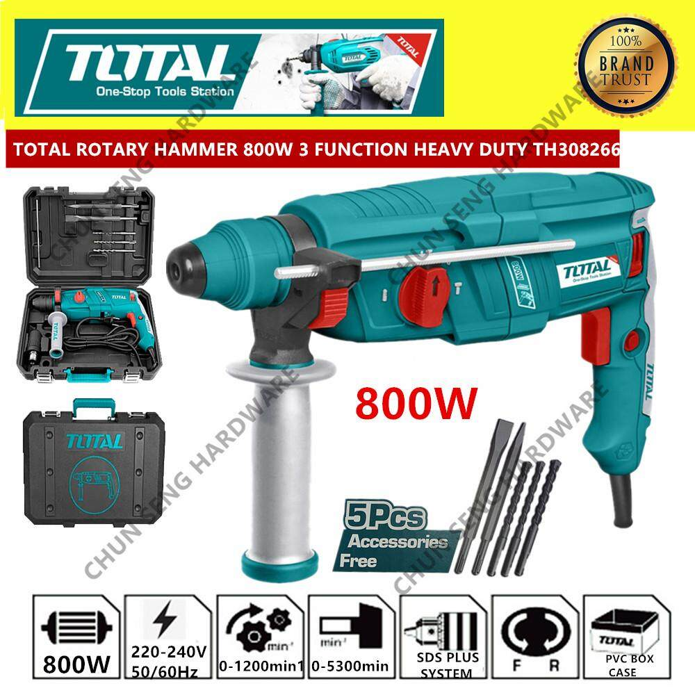 TOTAL ROTARY HAMMER DRILL DEMOLITION HAMMER 800W 3 FUNCTION TH308266