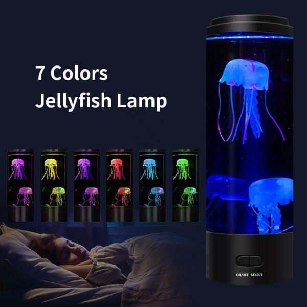 Đèn LED Dung Nham Sứa Tưởng Tượng Đèn Bể Nuôi Sứa Đổi Màu Chạy Bằng Pin/Nguồn USB Đèn Bàn Tâm Trạng Thư Giãn