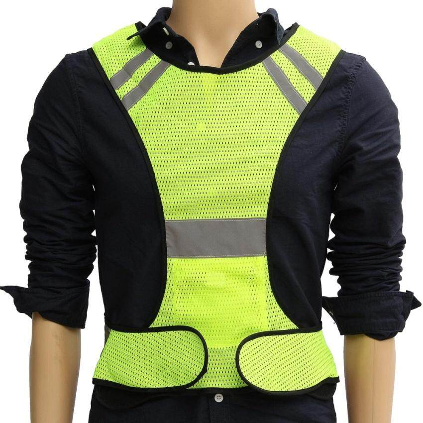 VR_Tech Night Work Reflective Vest Security Safety Gear Stripes Jacket High Visibility Green