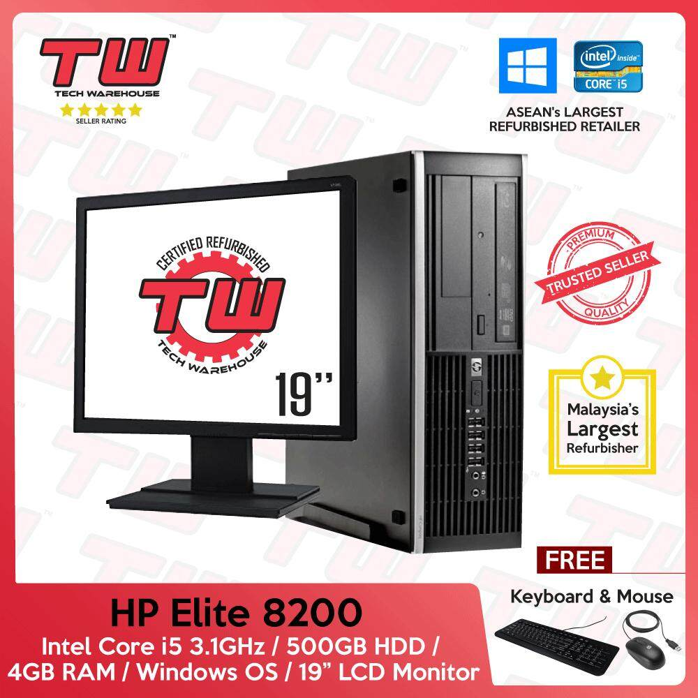 Hp Elite 8200 Core I5 2nd Generation / 4gb Ram / 500gb Hdd / Windows Os (sff) Desktop Pc / 19 Lcd / 3 Months Warranty (factory Refurbished) By Tech Warehouse.