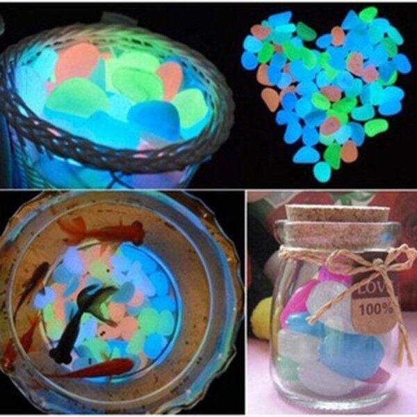 For Aquarium-Fish Tank Garden Pebbles Stone Glow In The Dark Decoration 50/100pc