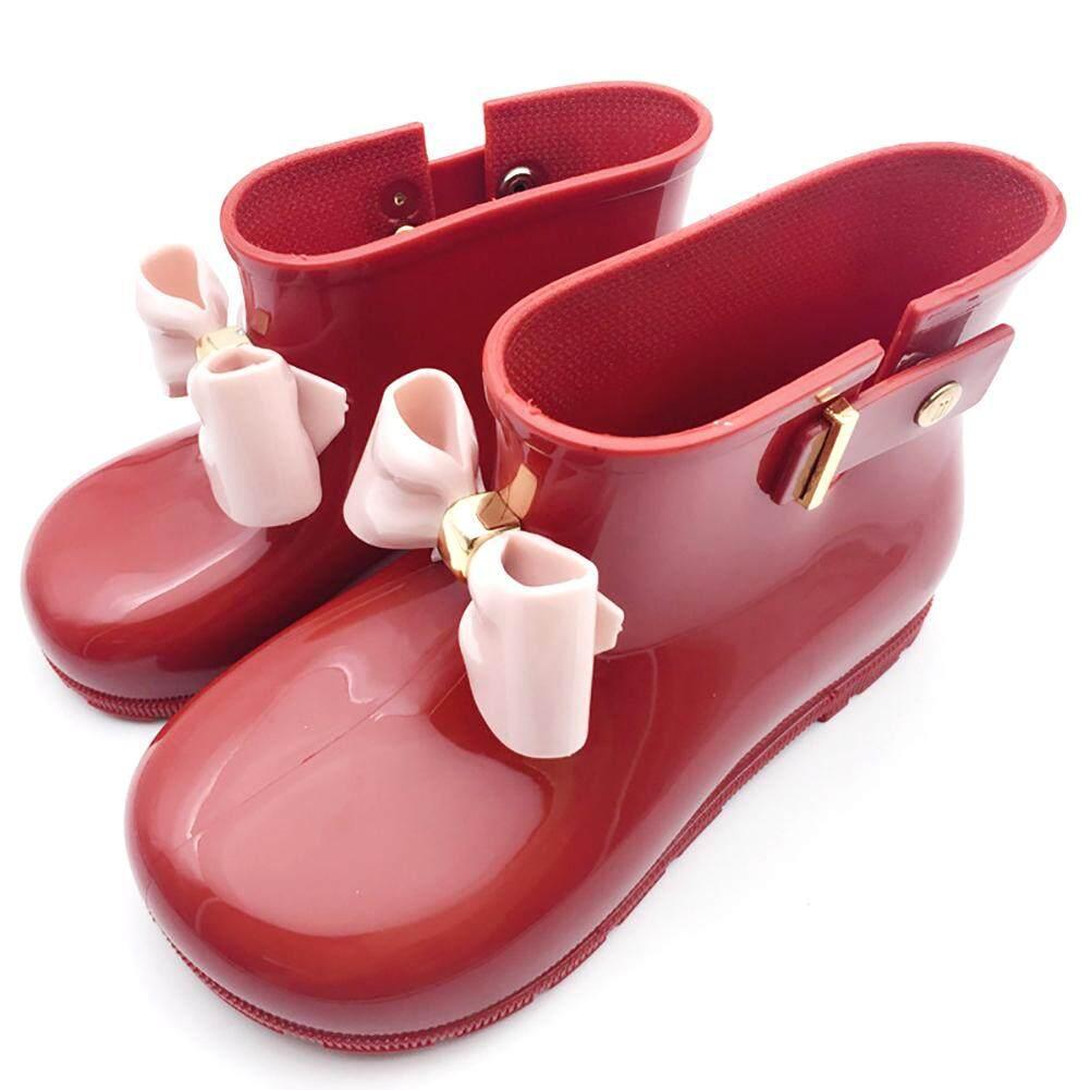 Giá bán Trẻ em Bé Gái Dễ Thương Jelly Giày Đi Mưa Nơ Giày Trơn Chống trượt, Mẫu
