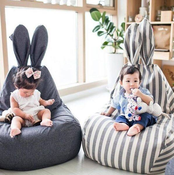 Striped Children Seat Washable Cute Rabbit Ears Sofa Soft Couch Baby Lazy Chair