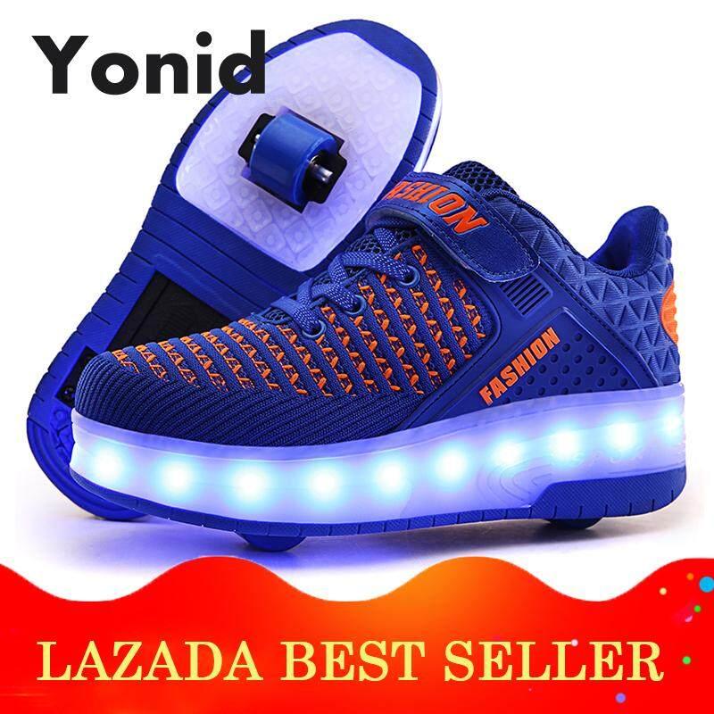 Yonid Ukuran 29-40 Laki-Laki Perempuan Anak-Anak Lampu Led Lebih Tinggi Double Rol Roda Sepatu Sepatu Mentee Sneakers By Yonid.