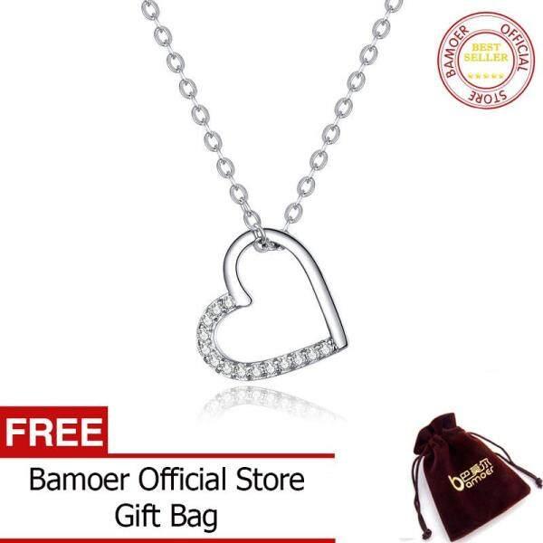 BAMOER MẠ hình hình tình yêu Bạc 925 Dây Chuyền Nữ Trang Sức Thời Trang SCN347
