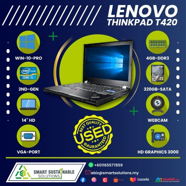 Laptop Lenovo Thinkpad T420 [i5-2nd gen] [4GB RAM] [320 HDD] - used laptop / secondhand laptop Malaysia