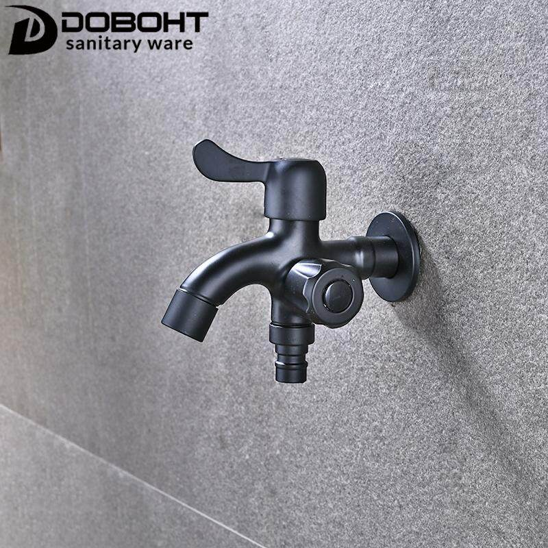 DOBOHT Stainless Steel Black Color Double Functions for Water Heater Cold Washing Machine Tap Faucet TP033-BL