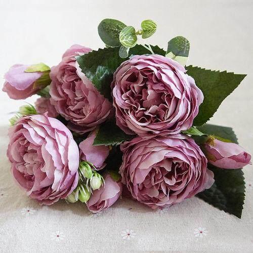 Home Garden Artificial Silk Peony Flowers Bouquet Fake Leaf Wedding Party Decor