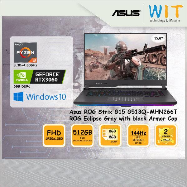 Asus ROG Strix G15 G513Q-MHN266T ROG Eclipse Gray with black Armor Cap/AMD Ryzen 9-5900HX 3.30~4.60GHz/8GB+8GB DDR4/512GB SSD(Extra M.2 Slot x1)/15.6FHD 144Hz/NVD RTX3060 6GB DDR6 Malaysia