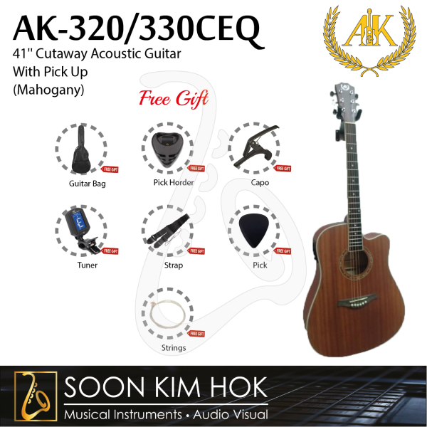 A&K AK-320/330CEQ 41 Cutaway Acoustic Guitar With Pick Up (Mahogany) (AK320/330CEQ) Malaysia