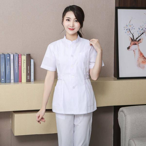 Split Nurse Suit Long Sleeve Set Kolar Menegak Stand Collar Oral Pakaian Kerja Short Sleeve Two Dua Helai Care Suit Kot Putih