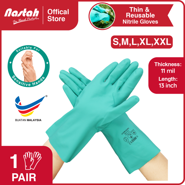 [1 Pair] Nitrile Gloves Chem-Gard NU1113 Green Color Reusable Thin Lightweight Eczema Gloves For Sensitive Skin Unlined Chemical Resistant Gloves Anti Chemicals, Acids, Alkali, Solvents, Oils, Greases Sarung Tangan Kerja 洗碗手套 Size S,M,L,XL,XXL