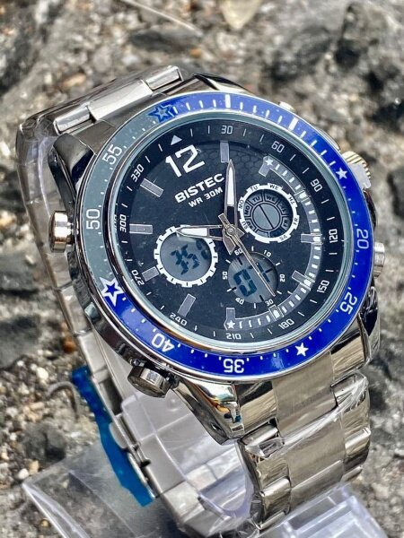 **VALUE BUY** Bistec Stainless Steel Fashion Watch Dual Time For Men (GREAT QUALITY) FAST SHIPPING Malaysia