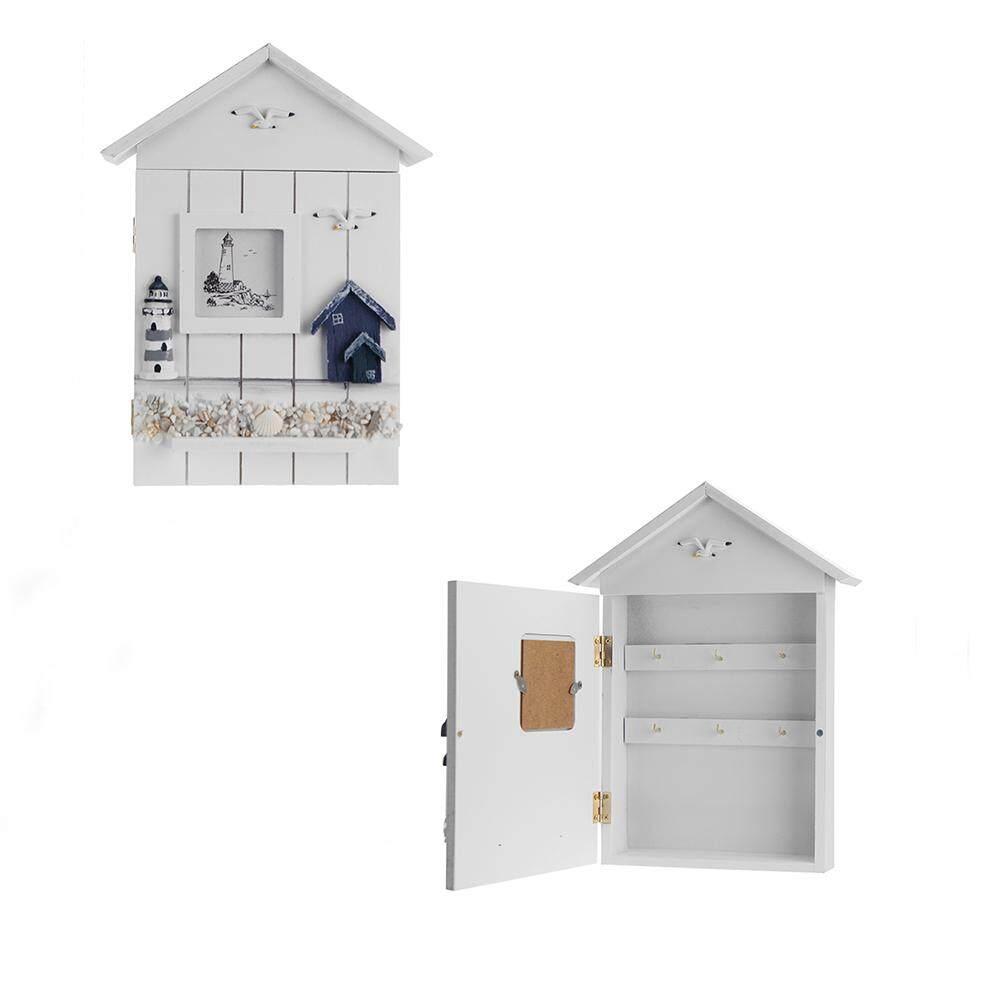Mediterranean House Key Storage Holder Case Wall Mounted Wooden Storage Box (Lighthouse)