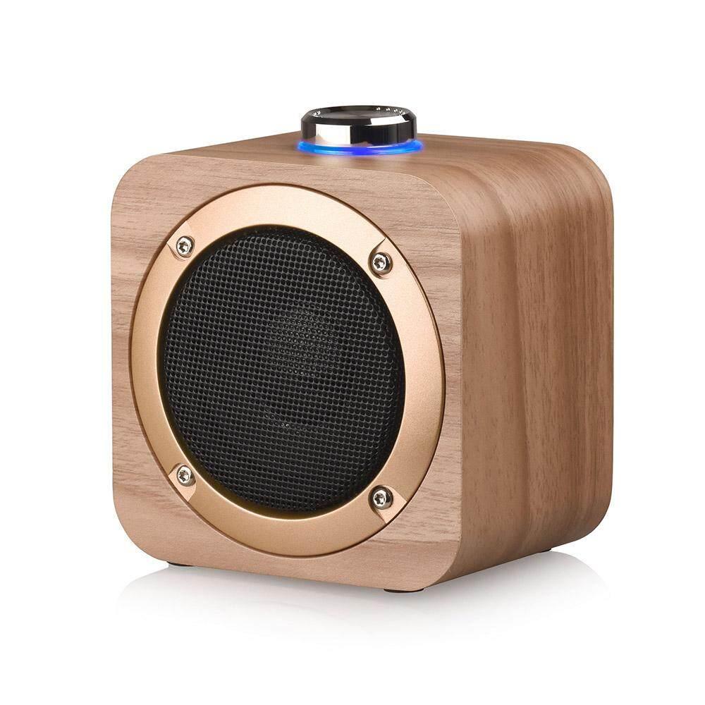 Portable Speaker BT4.2 TWS 3D Stereo Surround Subwoofer Audio Player Wooden Speaker 1200mAh Battery 5W Powerful Horn