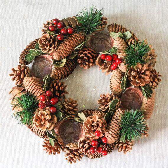 Christmas Candle Holders Pine Cone Berries Woodland Rustic Xmas Decor Table Centerpiece Christmas Wreath with Four CandleHolder