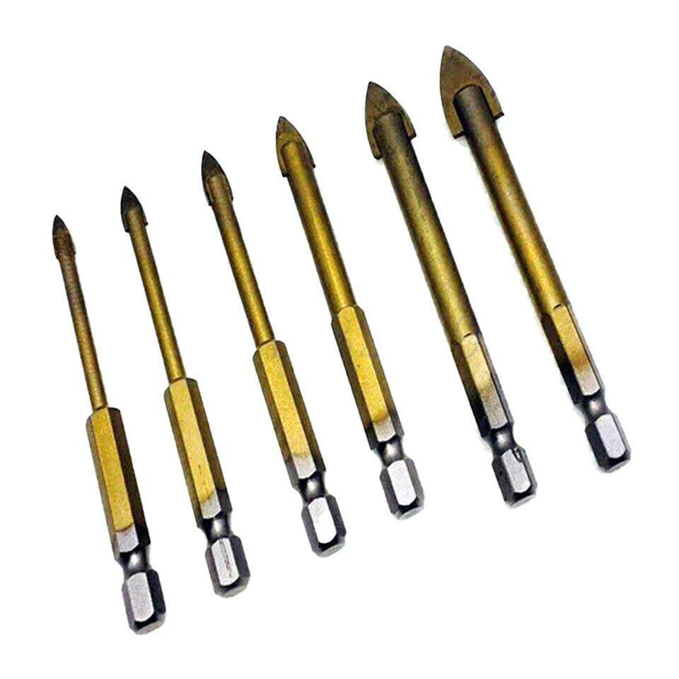 Top Sell Multi-function Hexagonal Shank Drill Bit Titanium-plated Glass Drill Ceramic Drill Six-piece Set 4-12mm