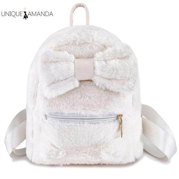 【UNIQUE AMANDA】Children Plush Schoolbag Student Kindergarten Fluffy Cute Shoulder Backpack