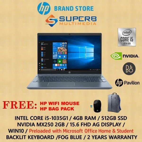 HP Pavilion - 15-cs3134tx laptop (i5-1035G1, 4GB, 512GB SSD, MX250 2GB, Win10, Blue, OPL) Malaysia