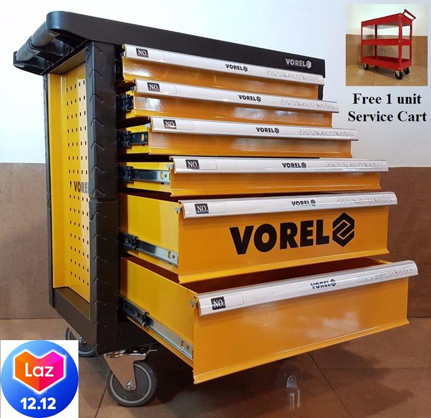 POLAND Vorel  YT-58540 6 Drawer Tool Cart With Tools 177pcs ID31236 FOC ID31346