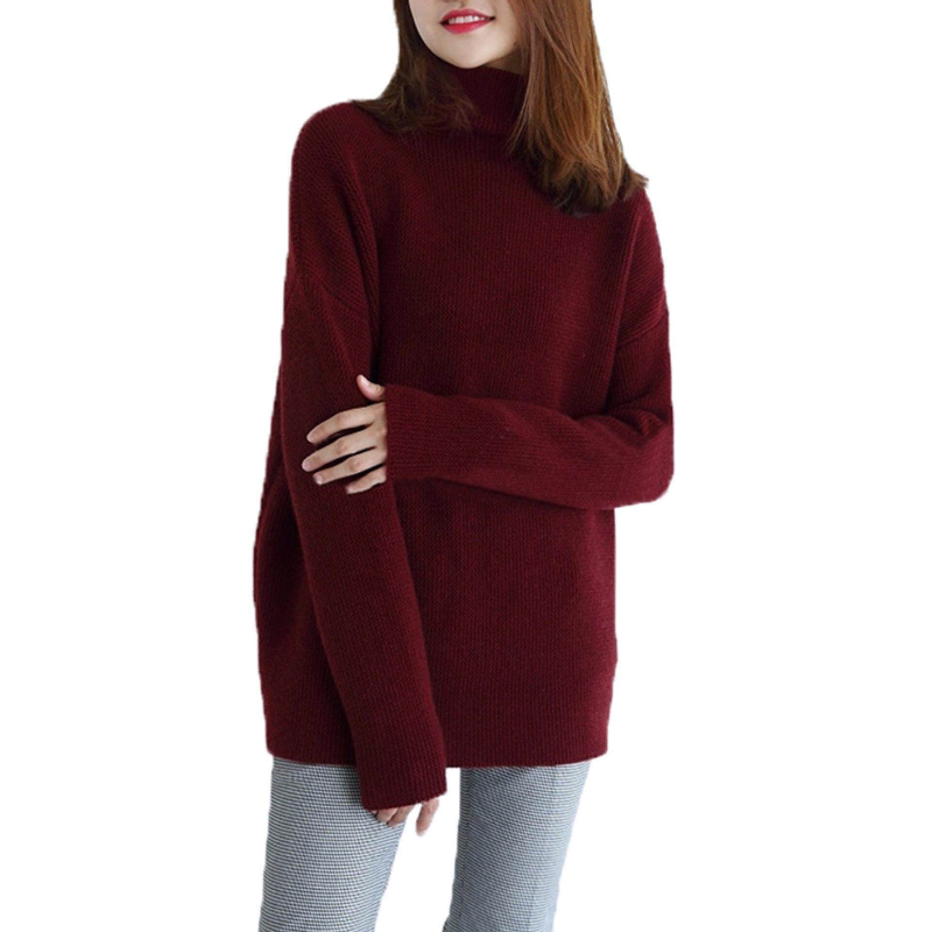 Pinellia Flowers Warm Women 100% Cashmere High-Necked Sweater Long Sleeve Loose Coat Tops By Pinellia Flowers.