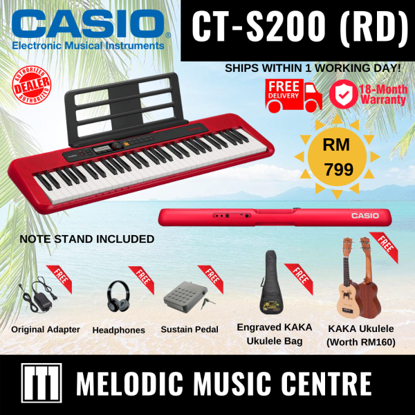 CASIO CT-S200RD 61 Keys CASIOTONE Portable Electronic Keyboard Music Piano SCHOOL HOLIDAY BUNDLE READY STOCK - RED (CTS200 / CT S200 / CTS 200) Malaysia