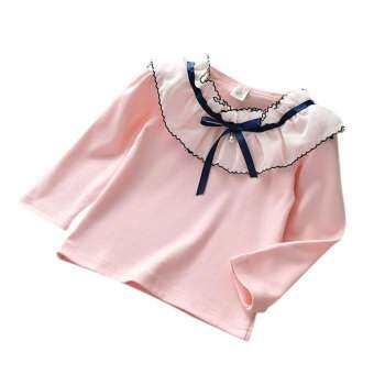 ฤดูใบไม้ร่วงเด็กสาวฝ้ายลูกไม้โบว์เสื้อยืดท็อปส์เสื้อแขนยาวเด็กเสื้อลำลอง