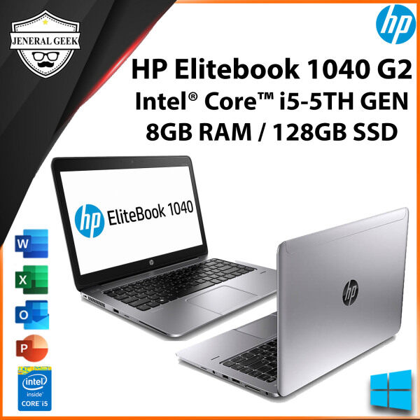 HP Elitebook Folio 1040 G2 Laptop Intel Core i5-5th Gen 8GB RAM 128GB SSD 13.3 Inch (USED) Malaysia