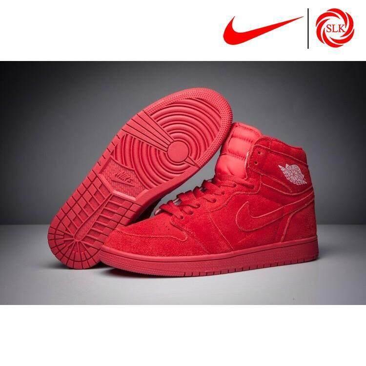 SLK★ Nike Air Jordan 1 Retro High BG 'Red Suede' Gym Red/Gym Red 2017 Basketball shoes