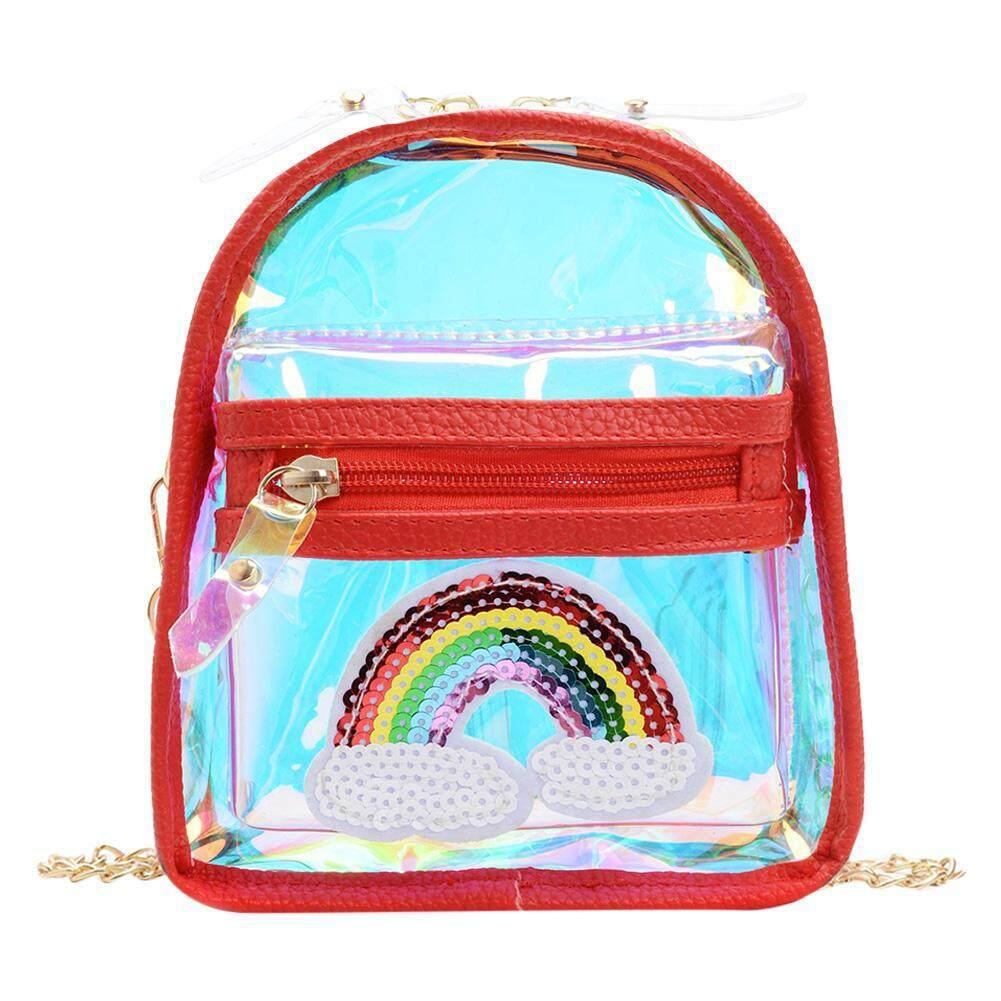 Giá bán Thời trang Rainbow Họa Tiết Laser Đeo Vai Túi Xách NHỰA PVC Kid Rõ Ràng Túi Đeo Chéo