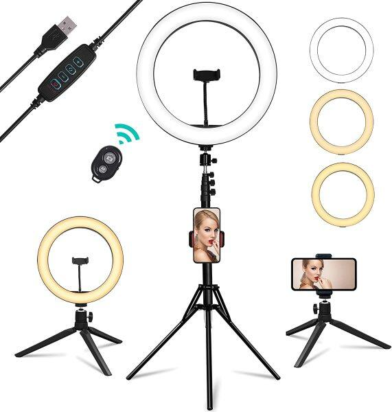 "USB Powered Ring Light, Summifit 10"" Circle LED Light, Bluetooth Halo Lighting with 2 Tripod Stand, 3 Phone Holder for YouTube Video, TikTok, Live Streaming, Makeup, Selfie Photography iPhone Android"