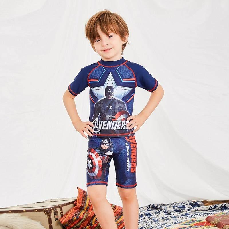 a7e7c2a956 2019 Children Swimwear Boy Short Sleeve Swimsuit Kids Anti-UV Swimwear Two  Piece Bathing Suits