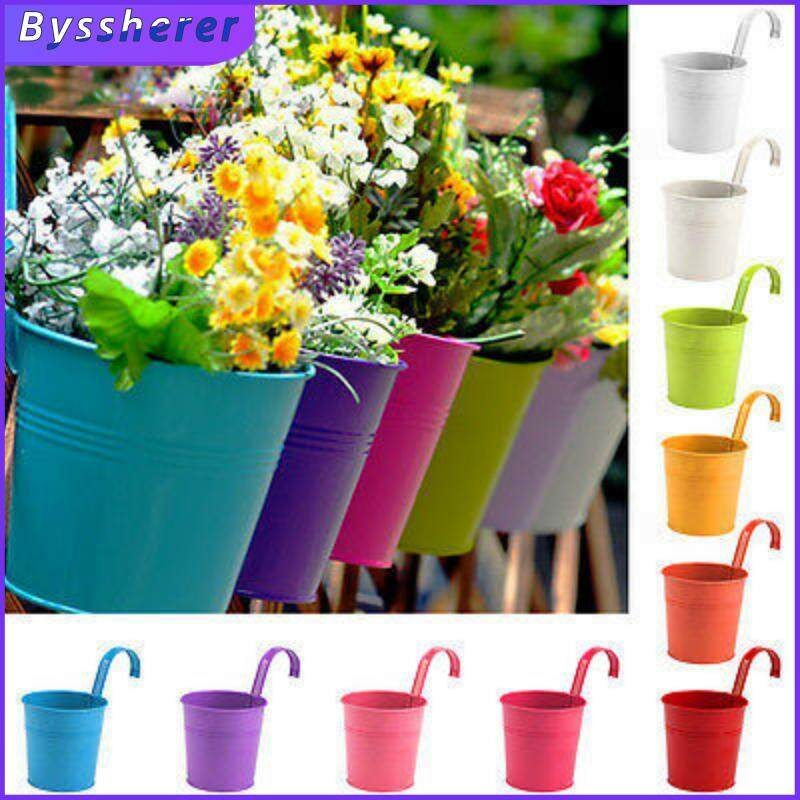 Byssherer Flower Pots 10 Multi-Color Random Metal Hanging Balcony Garden Decoration