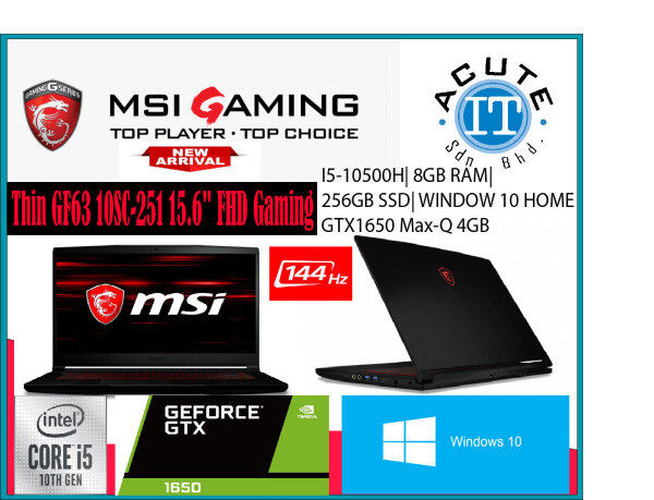 MSI Thin GF63 10SC-251 15.6 FHD Gaming Laptop Malaysia
