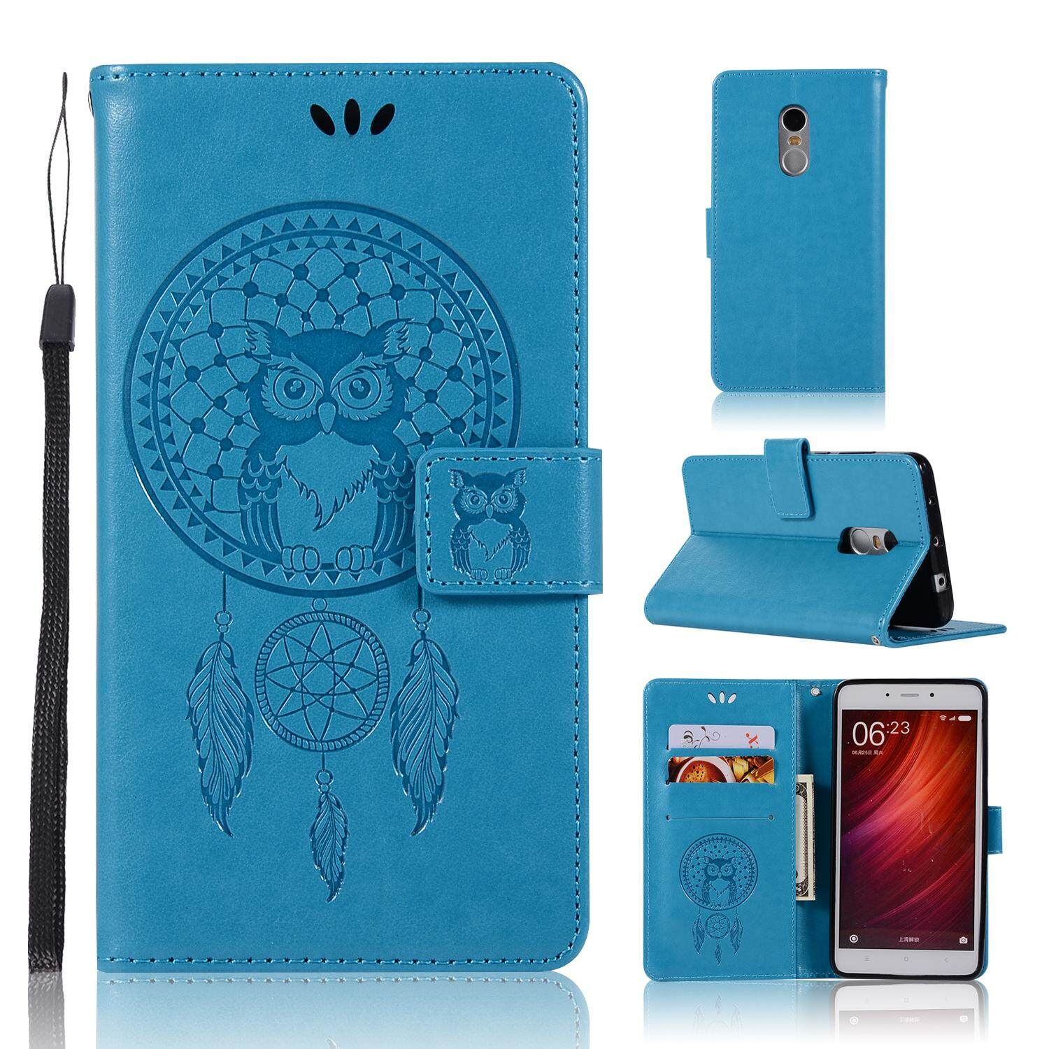 Luxury For Xiaomi Redmi Note 4 / Note 4x Casing , 3d Owl Embossing Leather Folio Flip Case Cover By Life Goes On.