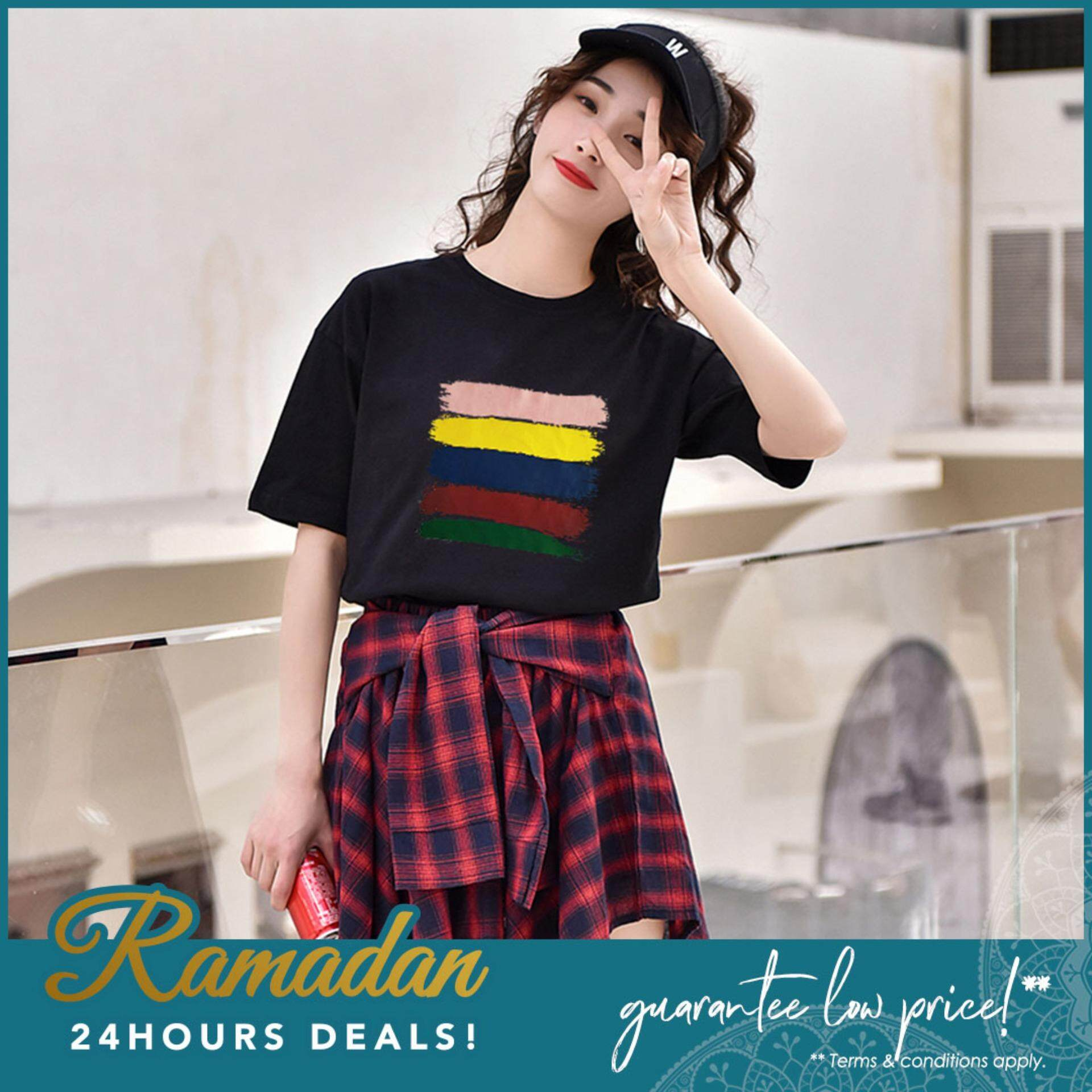 112bbd8fcc89b5 【READY STOCK】 Summer Women Tops Casual Loose Short Sleeve Rainbow Stripe  Design Round Neck