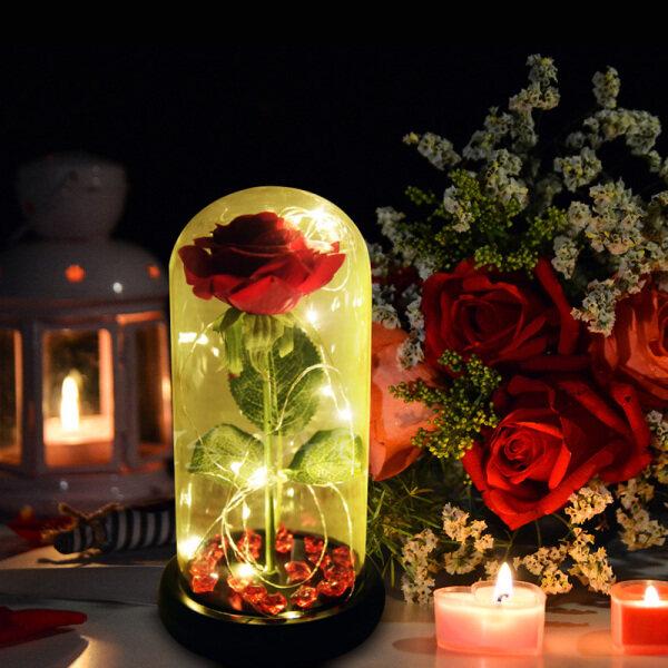 Bảng giá Giao Hàng Bỏ Qua Khâu Vận Chuyển Hoa Hồng Đỏ Beauty And The Beast Trong Vòm Kính Với Ánh Sáng LED Cơ Sở Gỗ Quà Tặng Ngày Giáng Sinh Valentine