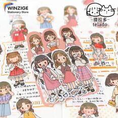 Winzige Set 20 miếng dán in hình cô bé đáng yêu dùng trang trí sổ tay nhật ký – INTL