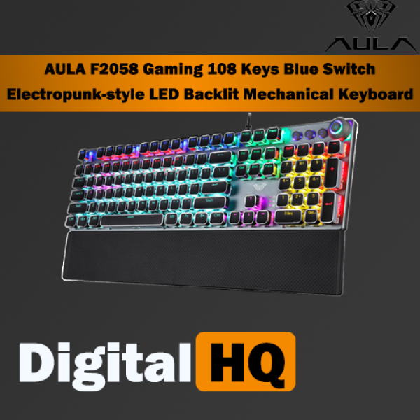 AULA F2058 Gaming 104 Keys Blue Switch Metal Panel LED Backlit With Wrist Rest Mechanical Keyboard Singapore