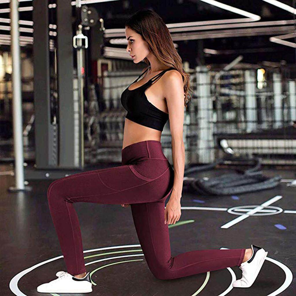 4ad8c127515b8 Qusaystore Women s High Waist Yoga Pants Pockets Tummy Workout Running  Sports Leggings