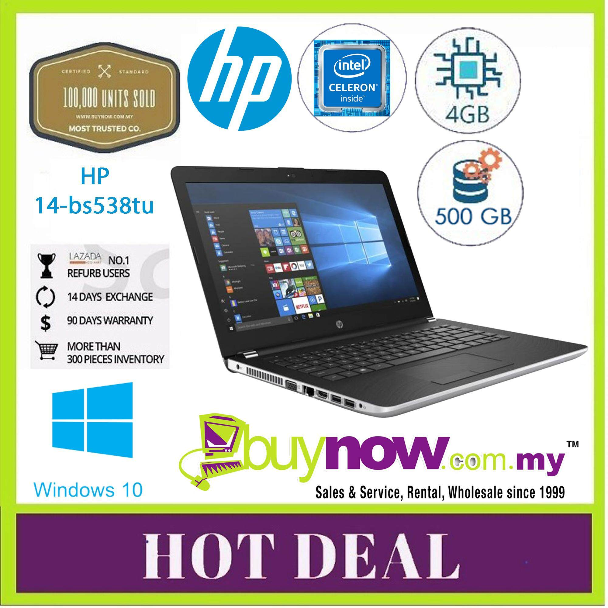 REFURBISHED USED NOTEBOOK LAPTOP HP 14-bs538tu INTEL CELERON N3060 4GB 500GB WINDOWS 10 HOME SINGLE LANGUAGE 5 MONTHS WARRANTY Malaysia