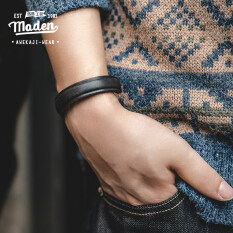 Maden brand tooling style men hip-hop personality American retro leather open bracelet vegetable tanned leather hot stamping letter printing boy student adjustable bracelet